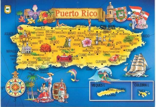 el mapa de pr y algunos de sus pueblos. | puerto rico map