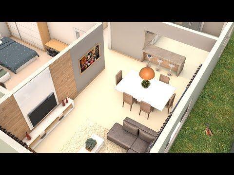 Planta 3D com cozinha americana - YouTube