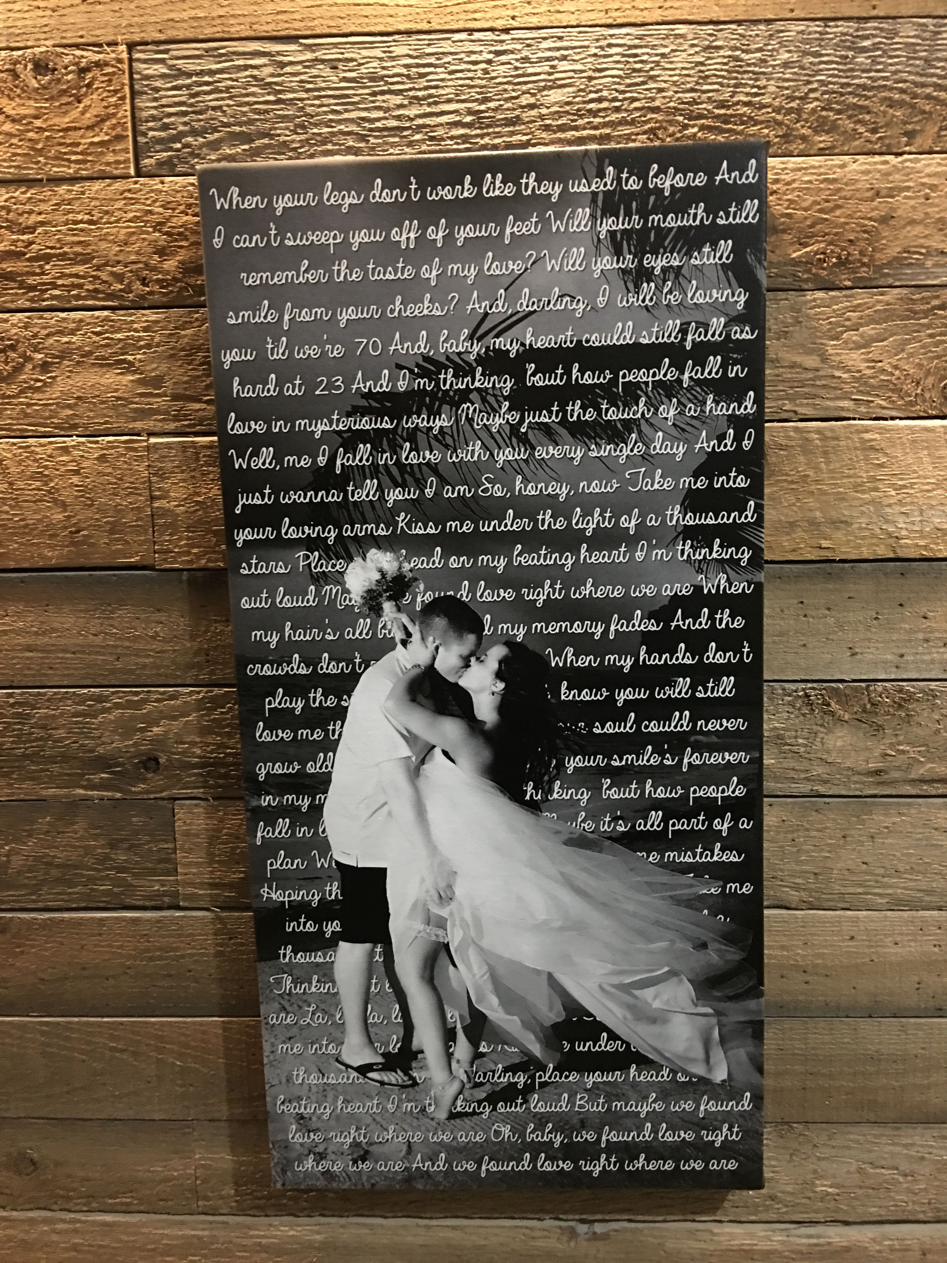 "15""x30"" Song Lyric Canvas with Wedding Photo"