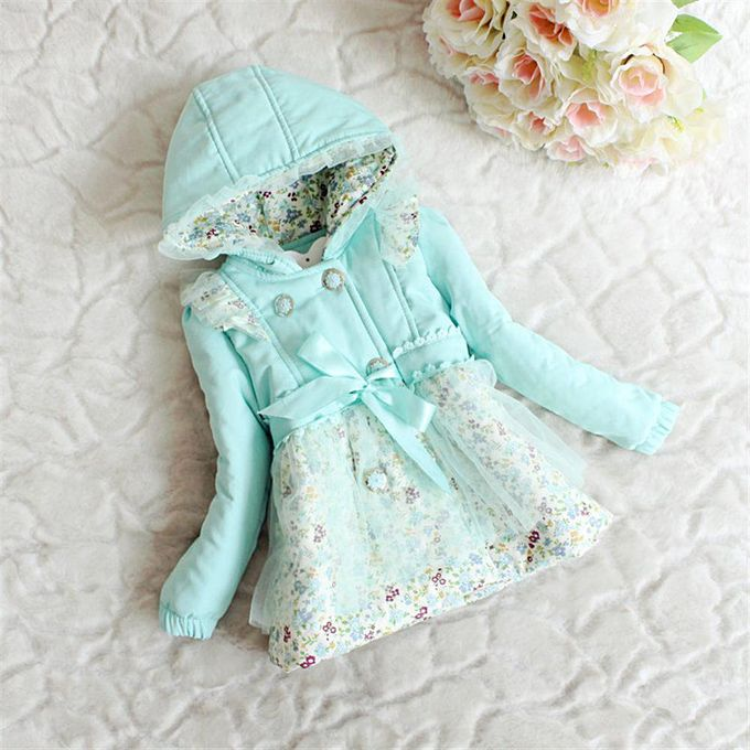 098950ab14b6 Shop Online Toddler Baby Girl Hooded Winter Jacket With Aqua Floral ...