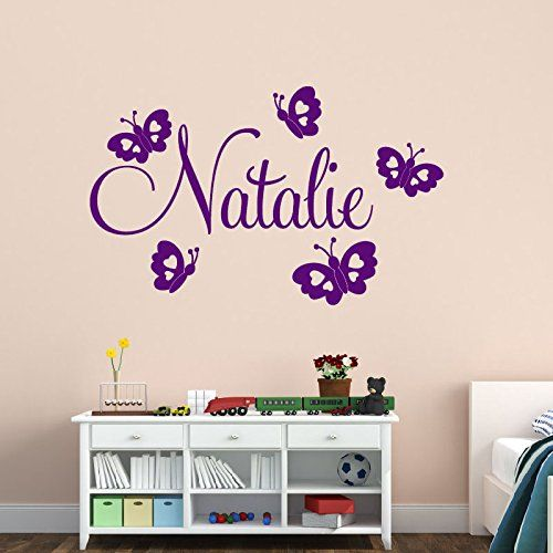 Handmade Beautiful Personalised Name Butterflies Kids Room Wall Stickers  DIY Removable Home Decor Customized Wall Decals Part 71
