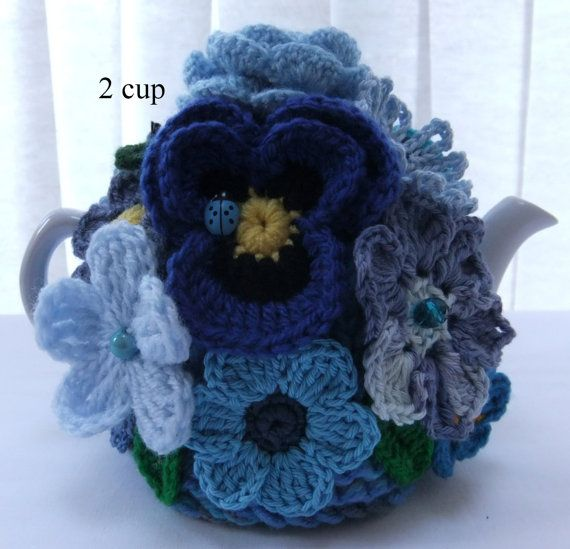 Hand knitted 2 cup Blue Flower Garden floral от Handmadewithlove66