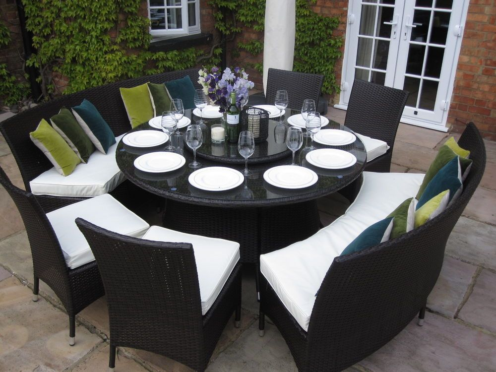 Large Round Dining Table Benches and Chairs Rattan Garden