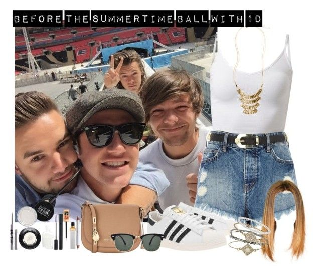 """""""Before the Summertime Ball with 1D"""" by aasne-midtbo ❤ liked on Polyvore featuring River Island, adidas Originals, MICHAEL Michael Kors, Ray-Ban and Topshop"""