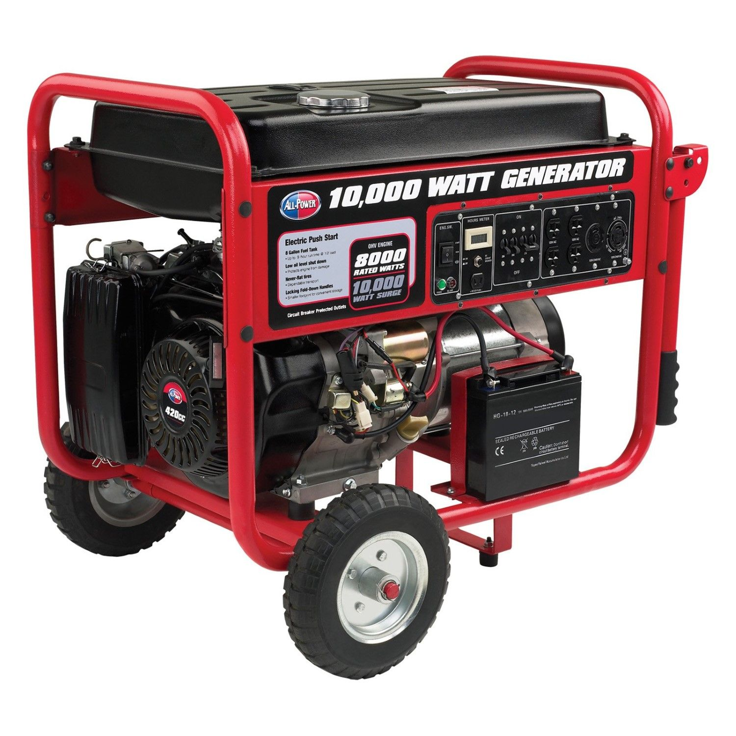 All Power W 420 CC Generator Electric Push Start Include