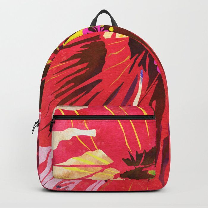 Go Modern Tropical With This Bright Red Hibiscus Flower Backpack