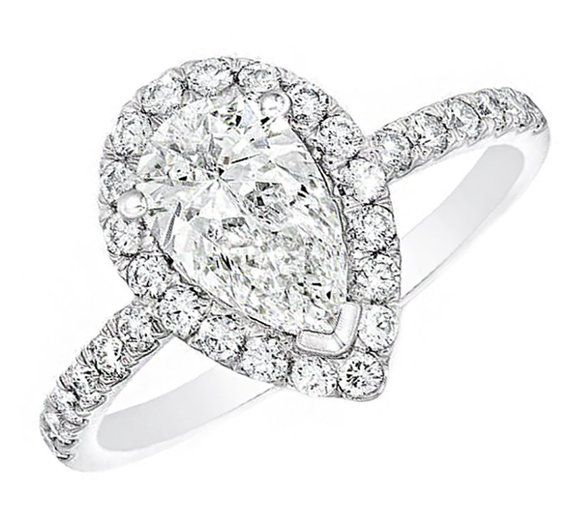f633c89880560 2 carat GIA Certified Pear Shape Diamond Engagement Halo Vintage ...
