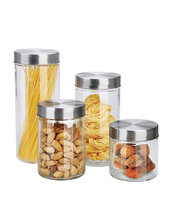 Home Basics™ 4-Piece Glass Canister Set with Stainless Steel ...
