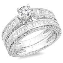 3e658950f IGI CERTIFIED 3.00 Carat (ctw) 14K White Gold Princess & Round Diamond  Bridal Engagement Ring Set 3 CT