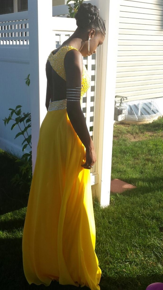 Yellow chiffon prom dresslong prom dressevening formal dresswomen