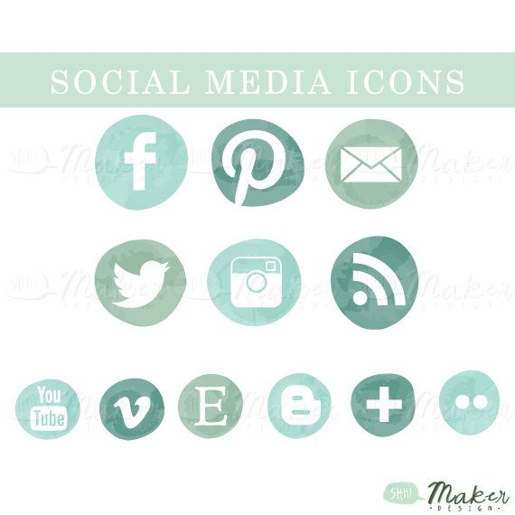 Social Media Icons Png Files Seafoam Ombre Etsy Social Media Icons Social Media Icons Vector Media Icon