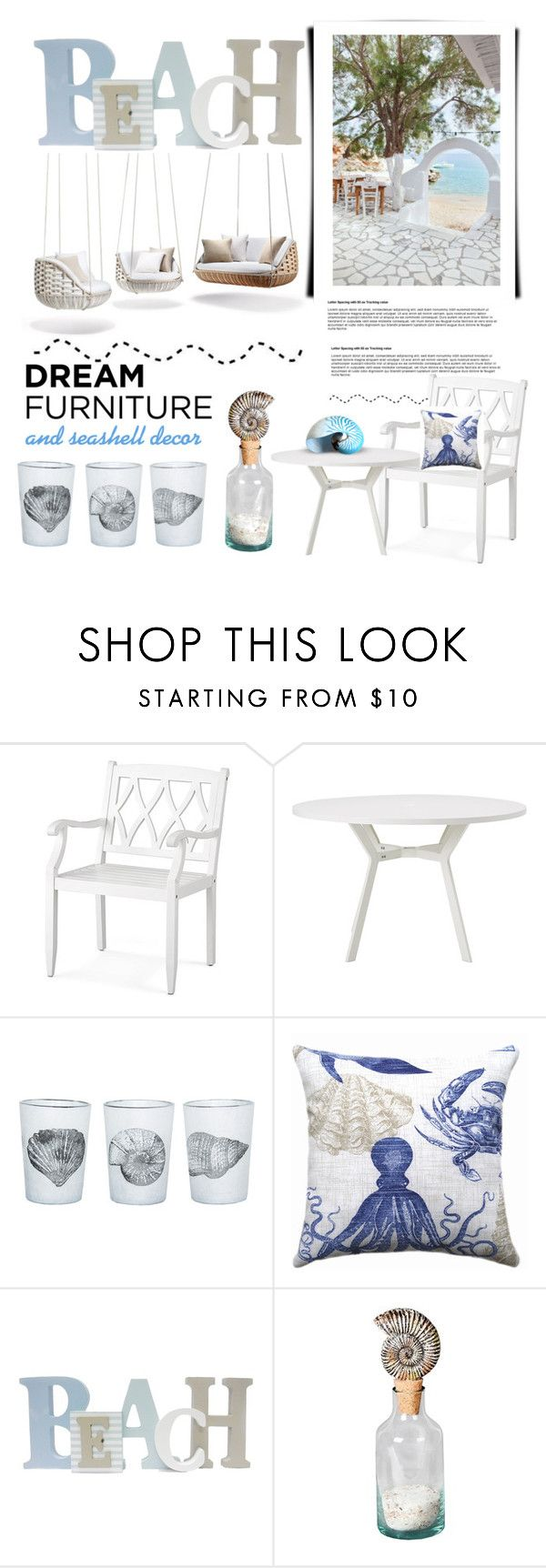 """Dream Furniture and Seashell Decor"" by conch-lady ❤ liked on Polyvore featuring interior, interiors, interior design, home, home decor, interior decorating, Improvements, Ethimo, Dot & Bo and Privilege"