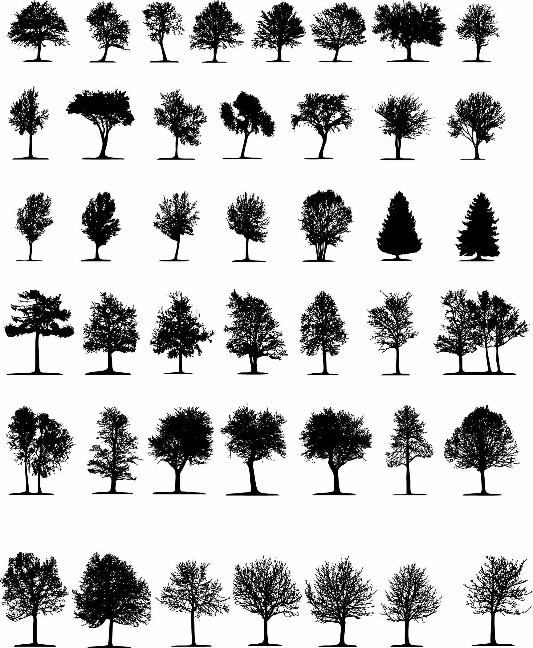 A Variety Of Trees Silhouette Vector Free Vector Tree Photoshop Silhouette Architecture Tree Silhouette