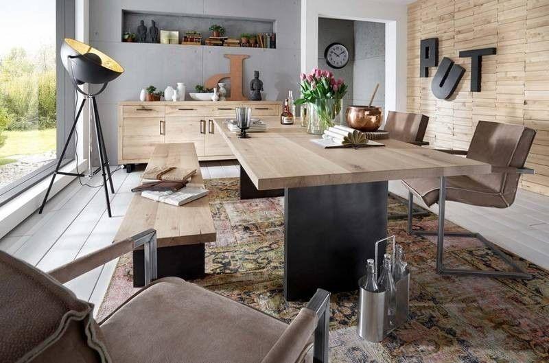 Esstisch Balkeneiche 220x100x75 bianco geölt WOODSTOCK Jetzt - küche mit esszimmer