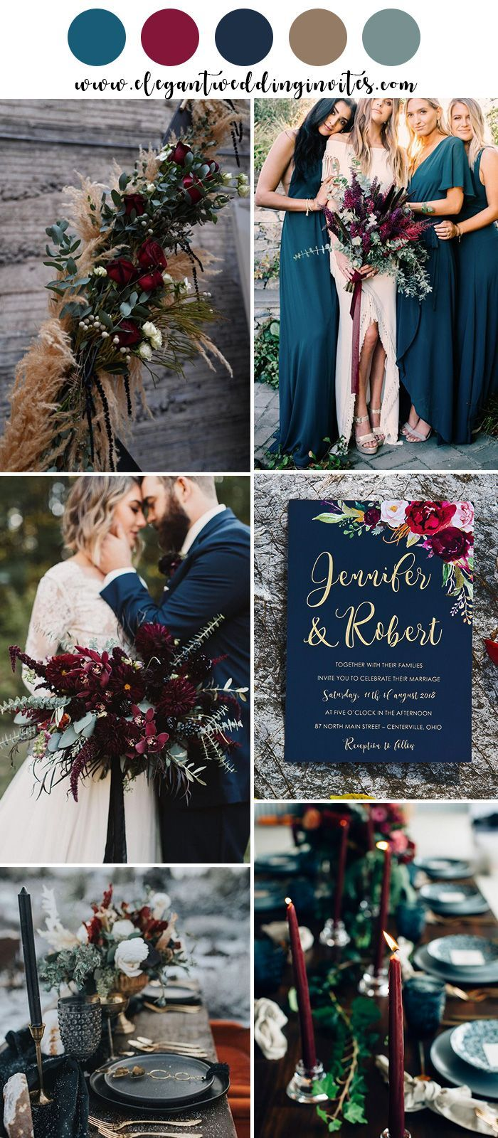 Moody Boho Chic Wedding Ideas with Matching Floral Wedding Invites #fallweddingideas
