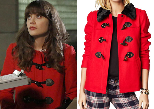 Jess Day (Zooey Deschanel) wears a red coat with toggle fastenings ...