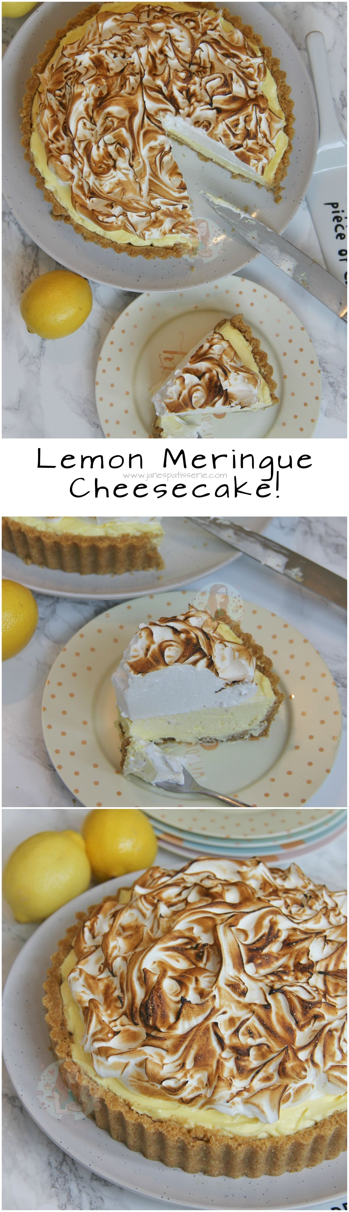Lemon Meringue Cheesecake!  A Buttery Biscuit Base, Smooth Lemon Cheesecake Filling, and an Italian Meringue make this No-Bake Lemon Meringue Cheesecake the perfect Dessert & Showstopper! #lemonmeringuecheesecake
