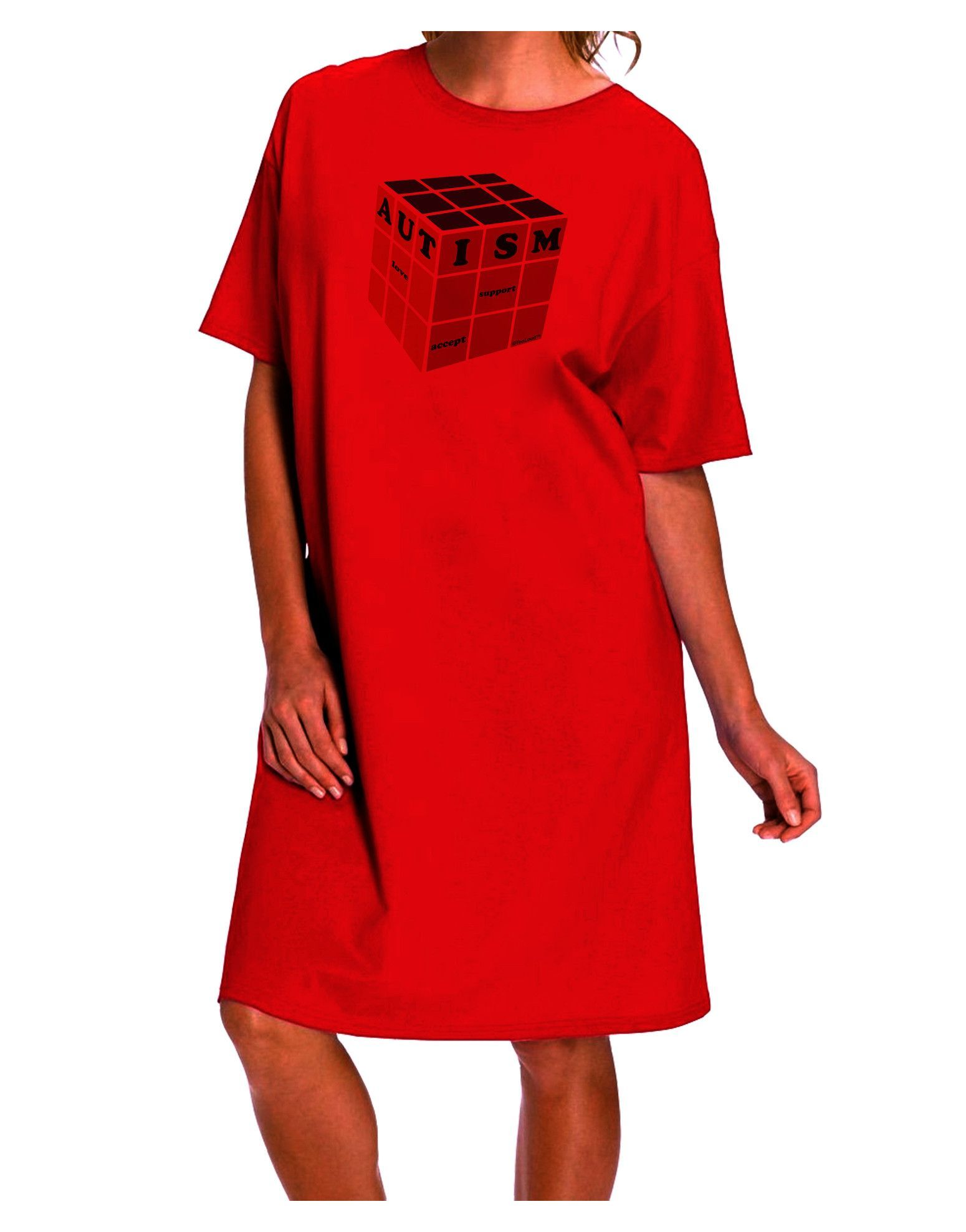 Autism Awareness - Cube Color Adult Wear Around Night Shirt and Dress