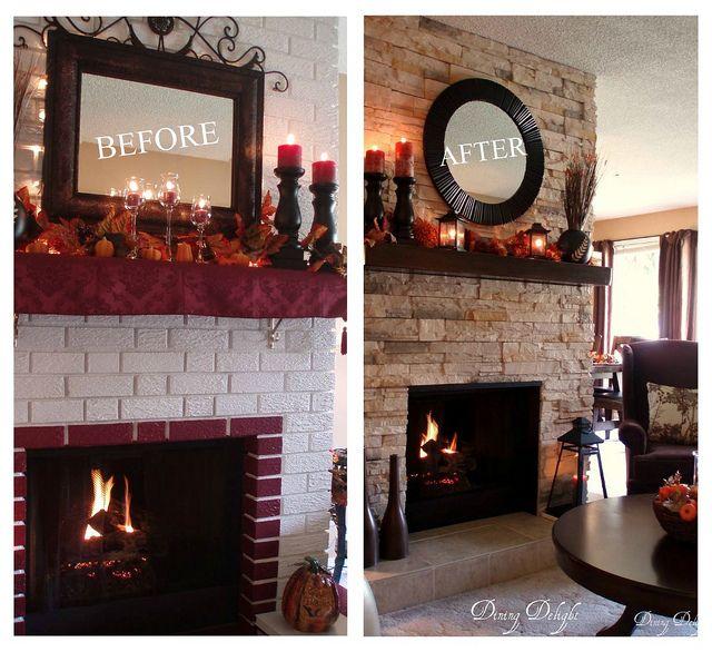 Fall Mantel Fireplace Makeover Brick Fireplace Makeover Fireplace Makeover Freestanding Fireplace