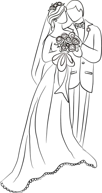 scrapbooking BRIDE AND GROOM cardmaking digital stamp set-cute wedding digital line art for coloring