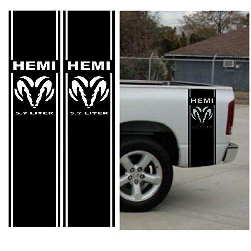 7 Best Chevy Colorado 2016 2017 Vinyl Graphics Stripes: Matte Black Hemi 5.7 Liter RAM 1500 Bed Stripe Decal Kit