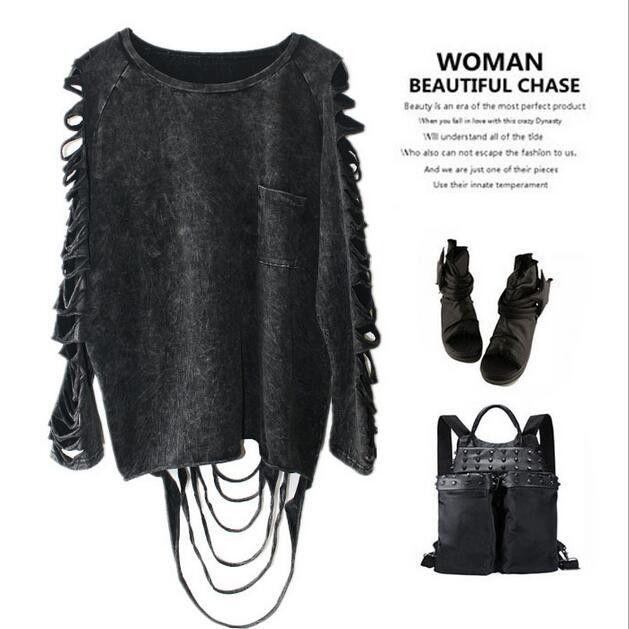Punk fashion cotton tassel dew hole T-shirt 160901-JM-1YB