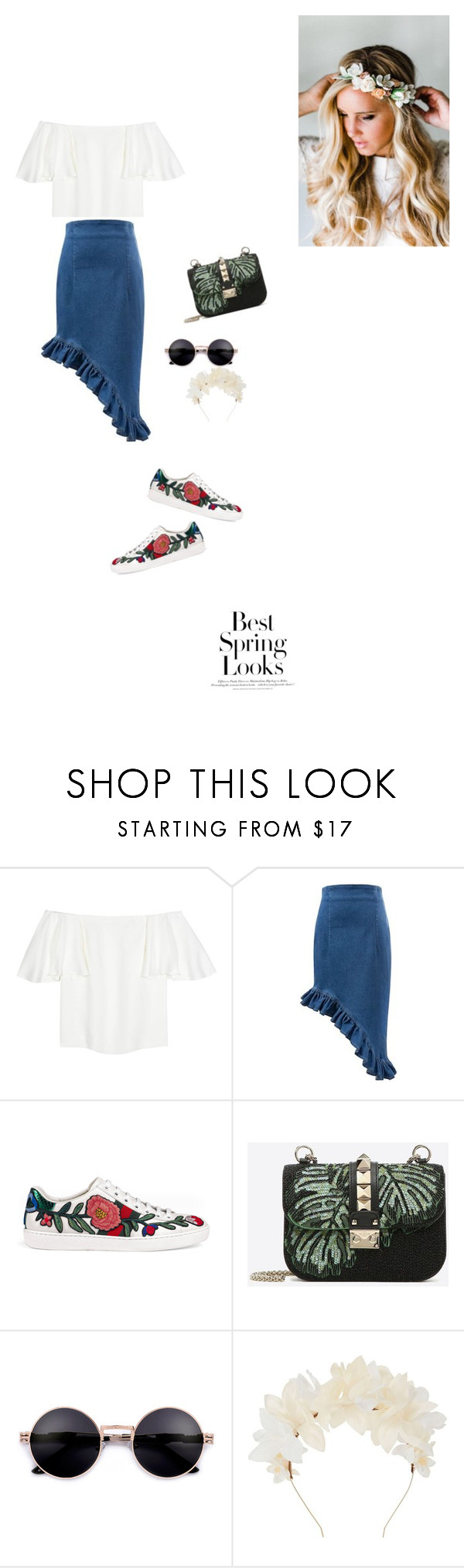"""""""Spring look"""" by alhanoofalbarjas ❤ liked on Polyvore featuring Valentino, Gucci, Lizzie Fortunato, Emily Rose Flower Crowns and H&M"""