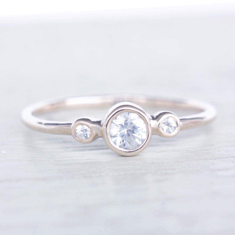 White Sapphire Gold Ring 14k Gold Natural White Sapphire Gold Ring Sapphire  Engagement Ring Alternative Diamond Ring