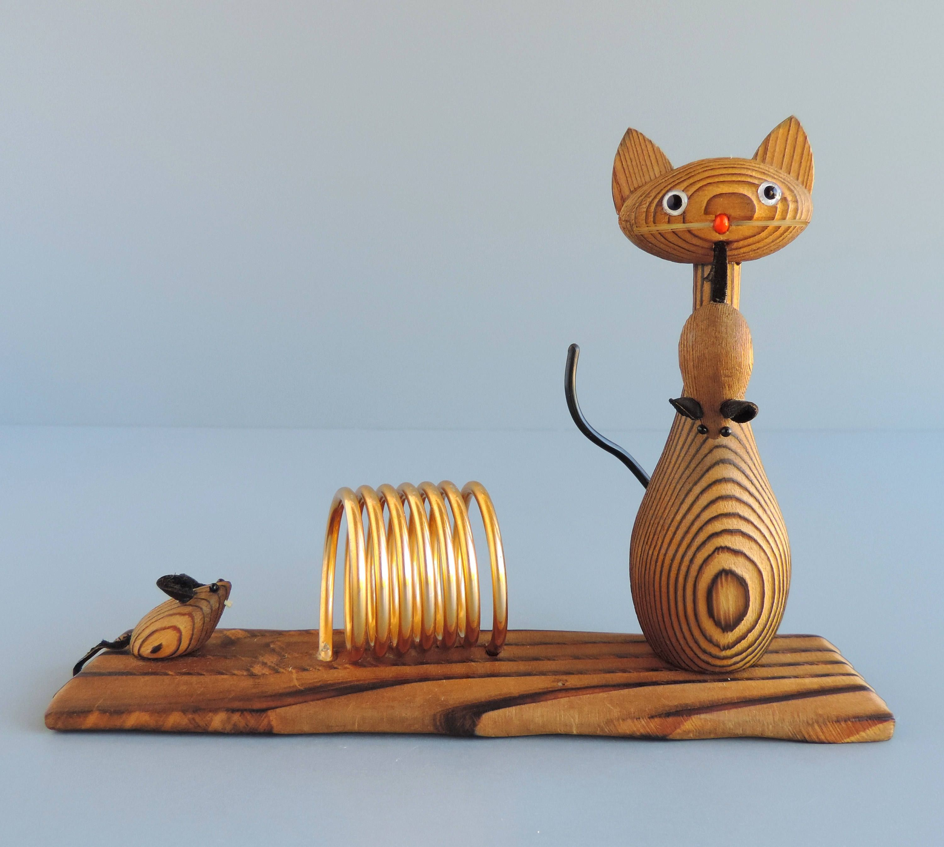 Vintage Wood Cat and Mouse Mail Holder, Kitty and Mice Coil Spring ...