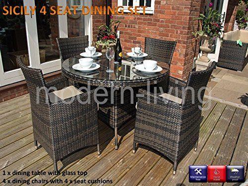 Sicily Round 4 Seat Rattan Garden Furniture Dining Set Modern Living