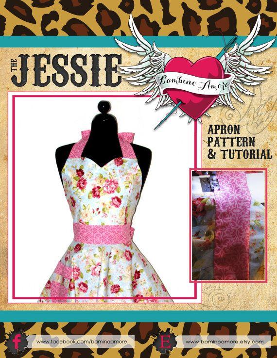 How to Sew a Women\'s Retro Apron - Sweetheart Neckline Womens Apron ...
