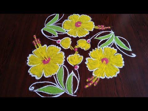 Creative simple flowers daily rangoli 7×4 dots - YouTube