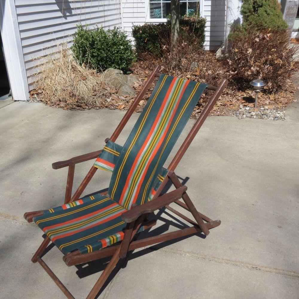 Vintage folding beach chairs - Vintage Antique Folding Wood Canvas Chair Deck Beach Lawn Pool Ship Lounge