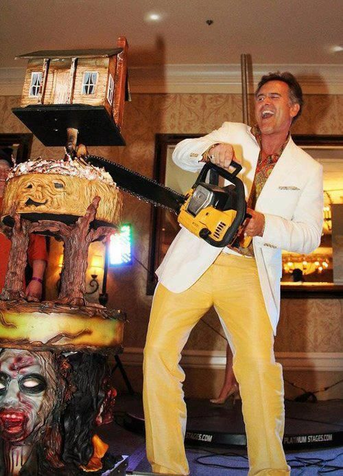 Bruce campbell cuts some cake