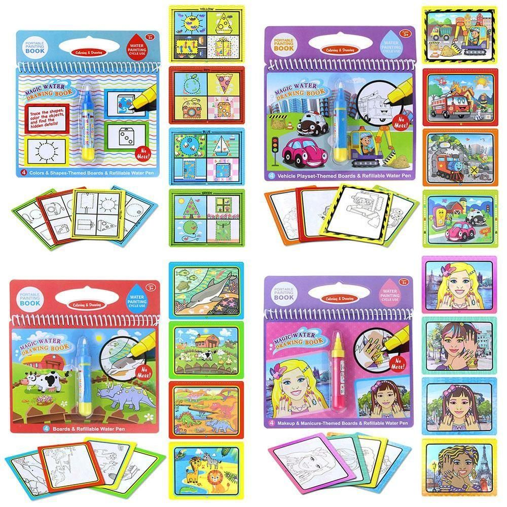 Kids Magic Water Painting Coloring Book Writing Doodle Drawing Board Pen Toys Us Kids Coloring Books Painted Books Kids Doodles