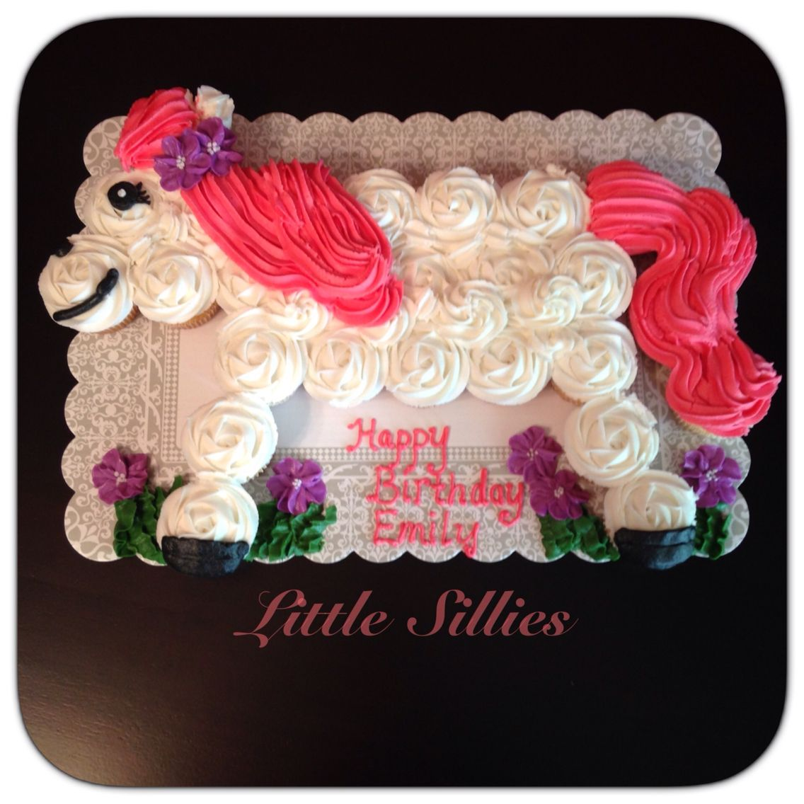 Pink and white horse cupcake cake My cakes and cupcakes