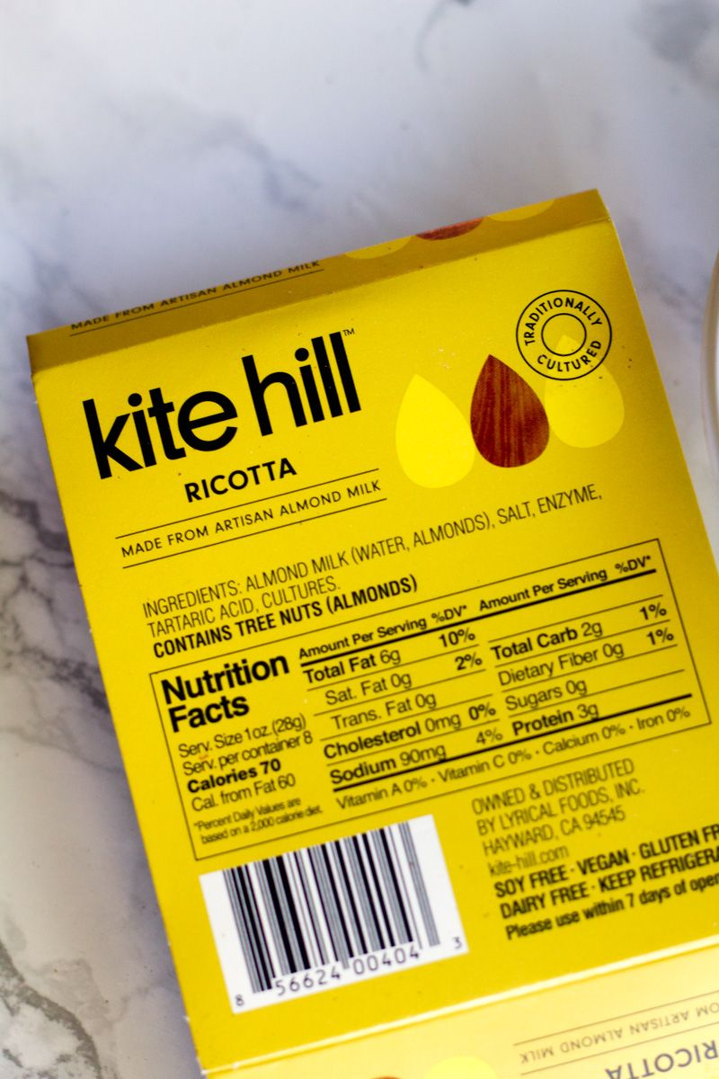 Kite Hill Ricotta Made From Artisan Almond Milk Dairy Free Review Cheese Alternatives Milk Ingredients Ricotta