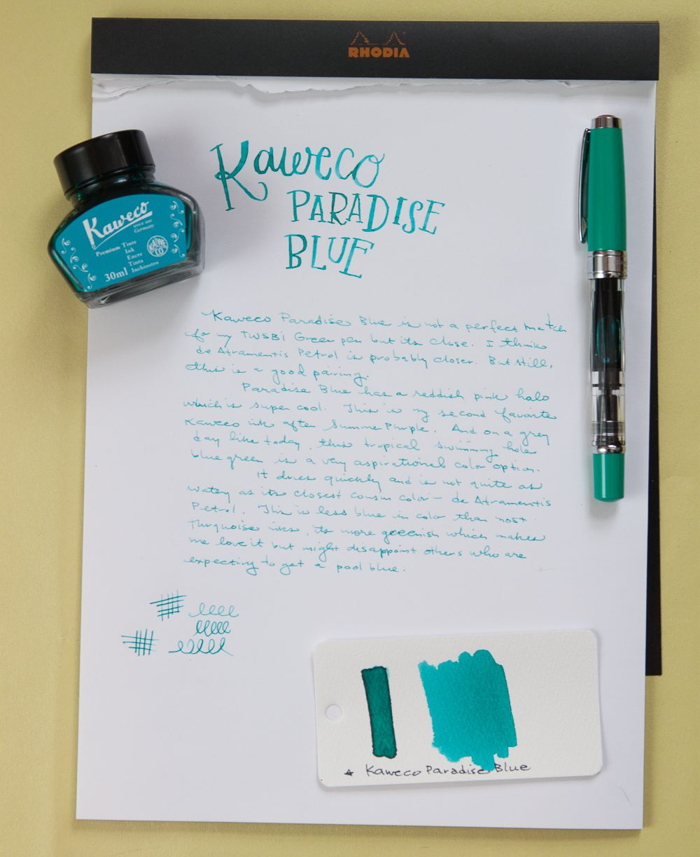 Ink Review Kaweco Paradise Blue Ink Kaweco Fountain Pen Ink