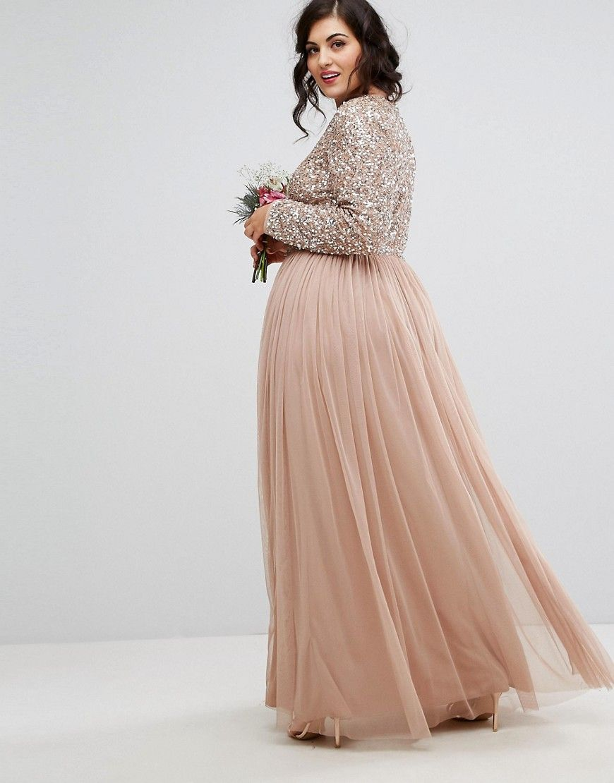Maya plus long sleeved maxi dress with delicate sequin and tulle