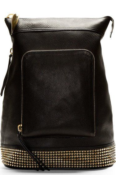Black studded cross-body backpack - GIUSEPPE ZANOTTI