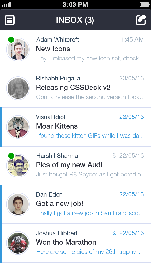 iPhone Email Client Design Concept / Kushagra Agarwal