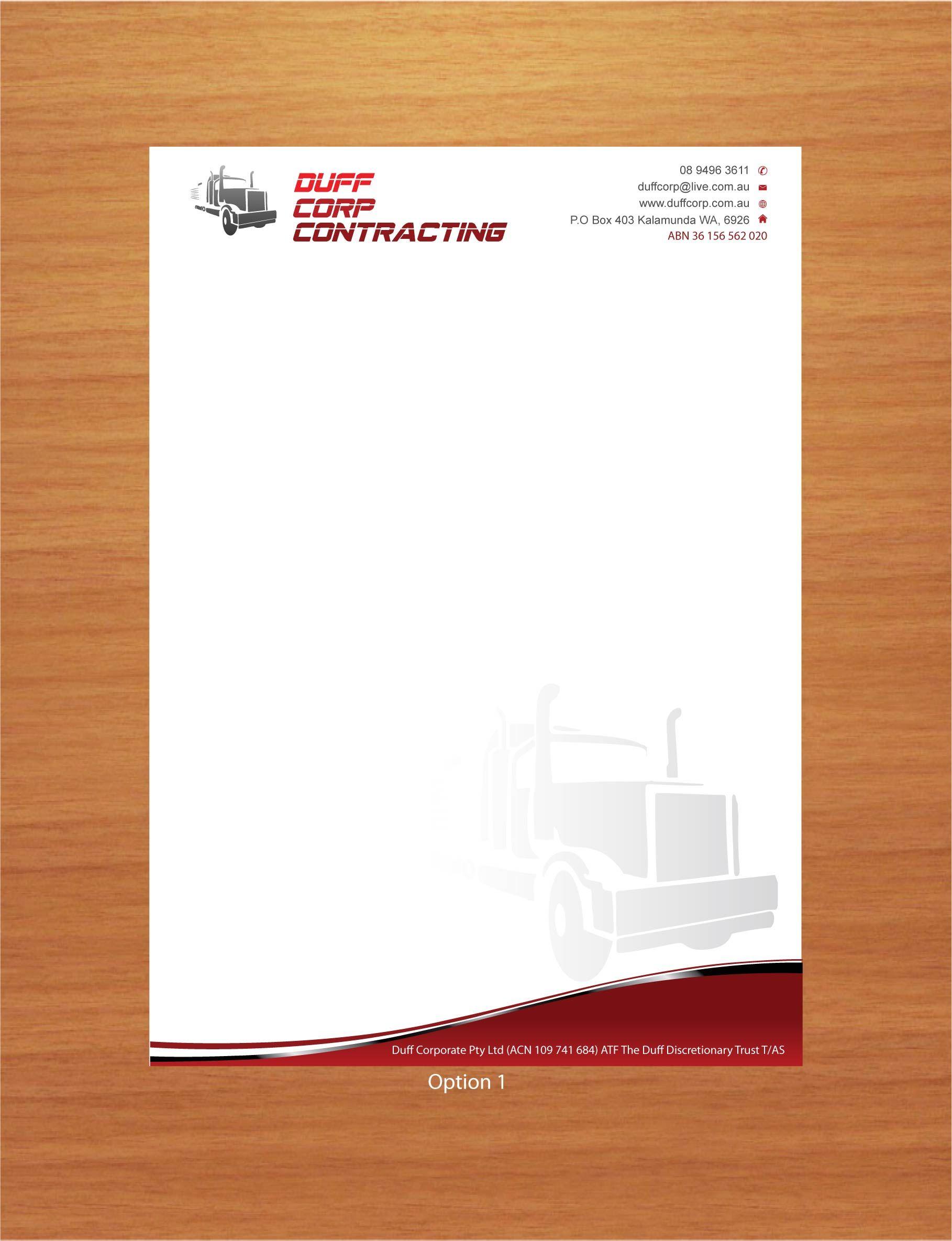 Duff Crop Contracting Letterhead Design Letterhead