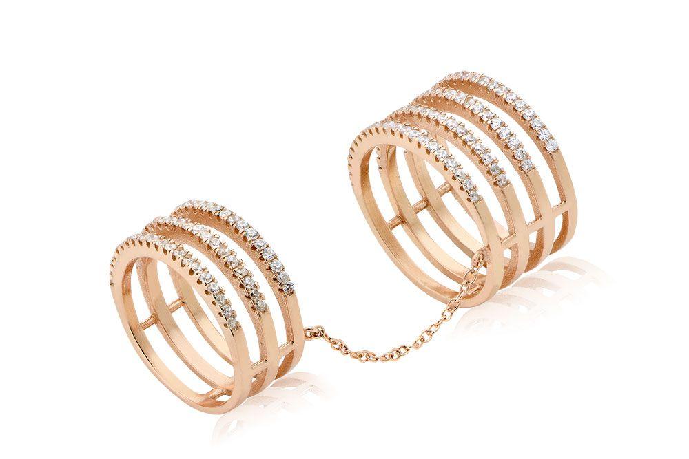 Ring With Six Bands Δαχτυλίδι με λευκά cz από επιχρυσωμένο ασήμι 925.Price: 110€