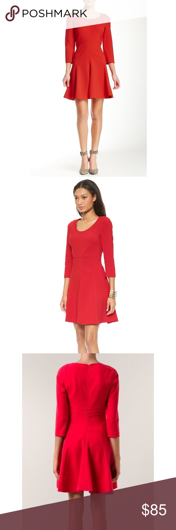 7432aa0a62a Diane Von Furstenberg Paloma fit and flare dress Gorgeous DVF Paloma dress  in poppy red. Fit and flare style with 3 4 sleeves. Hidden back zip. Scoop  neck.