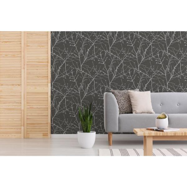 Transform Transform Branches Charcoal Vinyl Peelable Roll Covers 30 75 Sq Ft 108331 The Home Depot Peel And Stick Wallpaper Charcoal Wallpaper Wallpaper Roll
