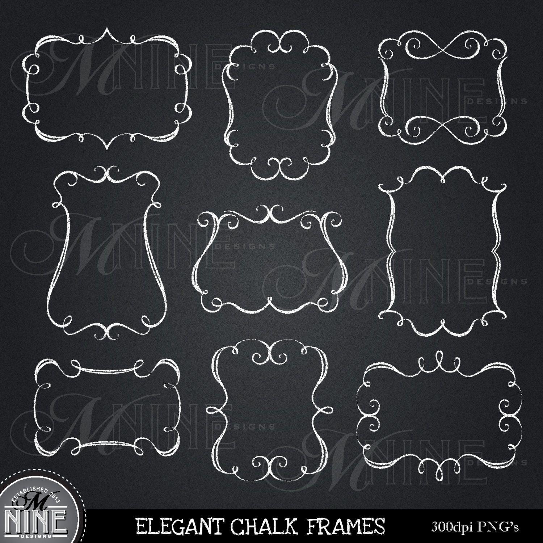 CHALK ELEGANT FRAMES Clipart Design Elements, Instant Download, Chalkboard  Borders Frames Clipart