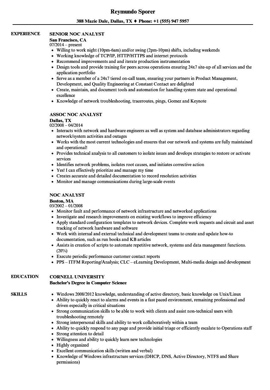 Noc Analyst Resume Samples in 2020 Sales resume examples