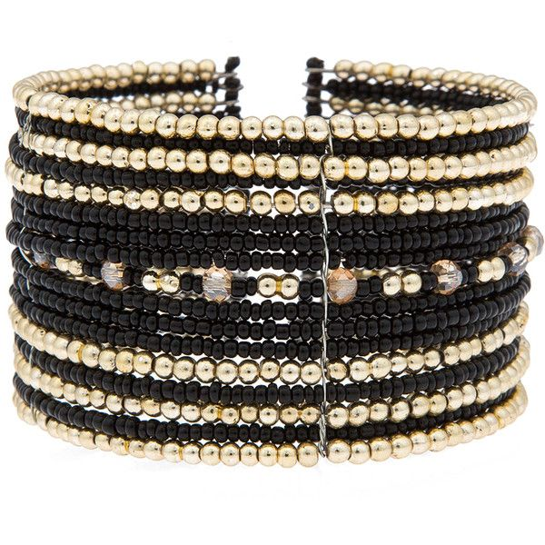 ELOQUII Beaded Cuff Bracelet featuring polyvore, women's fashion, jewelry, bracelets, accessories, wrist, cuff bangle, bangle cuff bracelet, hinged cuff bracelet, black and gold jewelry and black gold jewelry