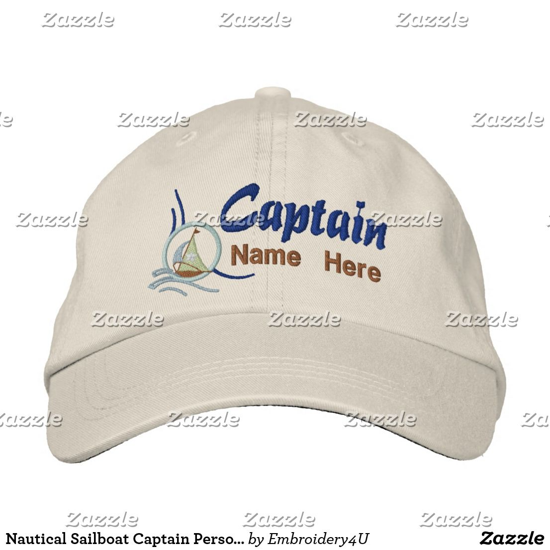 5b21e18c8a1be Nautical Sailboat Captain Personalized Embroidery Embroidered Baseball Cap
