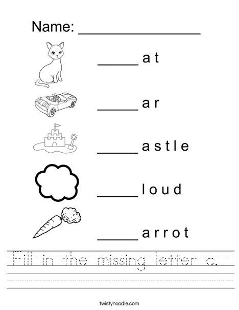Fill In The Missing Letter C Worksheet Twisty Noodle Letter C Worksheets Alphabet Letter Worksheets Letter Worksheets